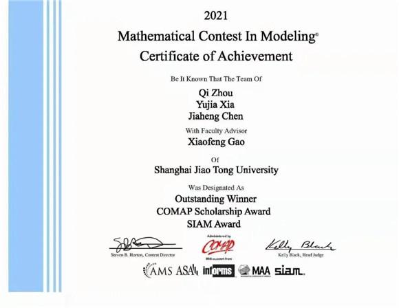 最高奖项!交大在2021年美国大学生数学建模竞赛中再创佳绩!